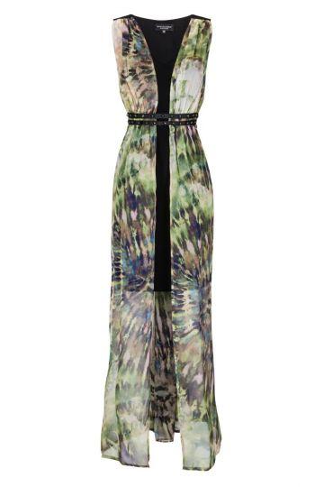 Grün-Braunes Langes Seidenkleid Fayra Nietenband