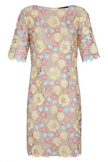 Yellow-Rose Flowers Lace Dress Gigis