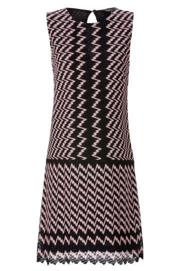 A-Linien Kleid Ansofa in Schwarz&Rosa Zick-Zack