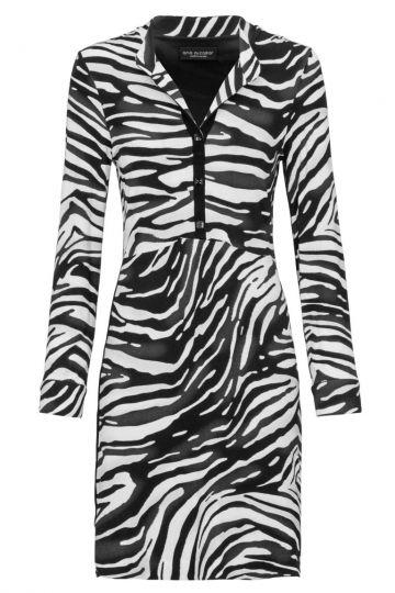 Schwarz-Weißes Hemdblusenkleid Deleony mit Zebra-Print | Ana Alcazar