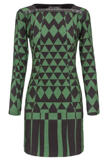 Grün-Schwarzes Langarmkleid Denofy mit Grafik-Muster | Ana Alcazar