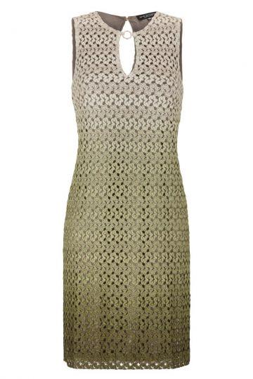 Grün-Beiges Strick A-Linien Kleid | Ana Alcazar