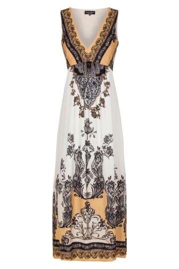 Ocker-Weißes Midi Kleid mit Ornamentprint | Ana Alcazar