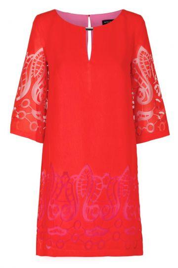 Rot-Pinkes Tunikakleid Feya mit Ornamenten | Ana Alcazar