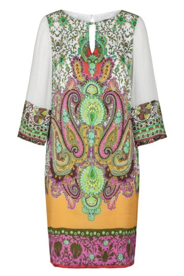 Buntes Ethno Seidentunika Kleid | Ana Alcazar