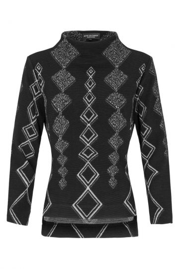 Schwarzes Shirt Donva mit Rautenprint | Ana Alcazar