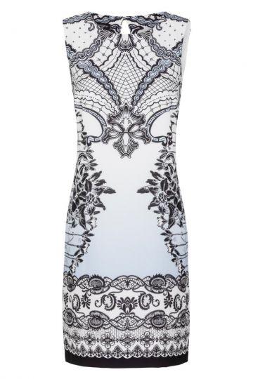 Blau-Weißes A-Linien Kleid mit Ornament | Ana Alcazar