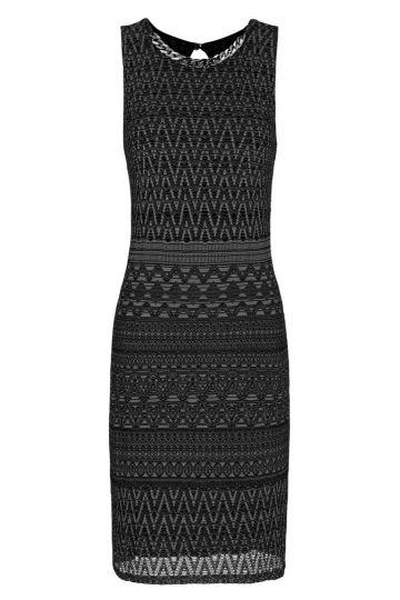 Schwarzes Häkel A-Linien Kleid Foanis