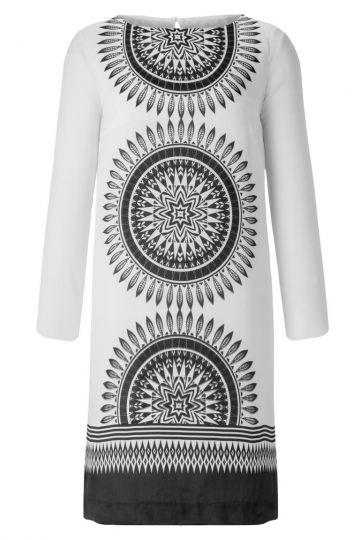 Seidentunika Kleid Aphrodea mit Ornament Print