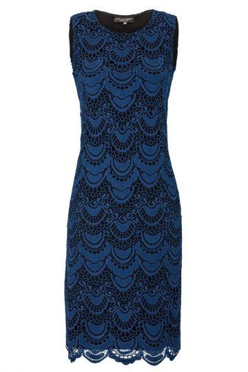 Blaues Spitzenkleid A-Linie Eaterna | Ana Alcazar