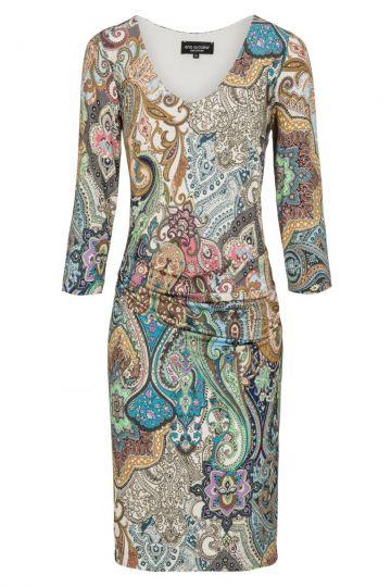 Gerafftes Kleid Dendia mit Paisley Print | Ana Alcazar