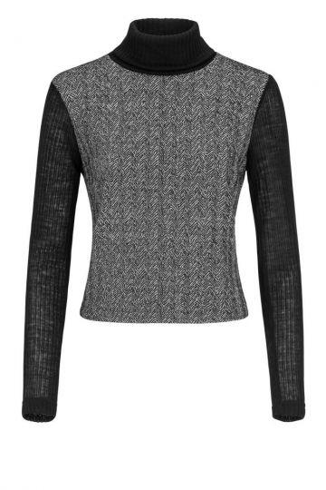 Rollkragen Shirt Doregrea in Grau & Schwarz | Ana Alcazar