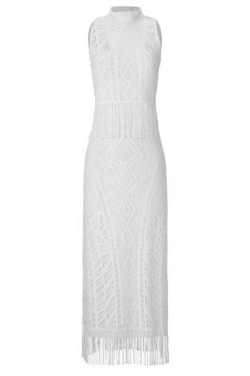 Langes Kleid Alvinis aus weißem Häkelstoff