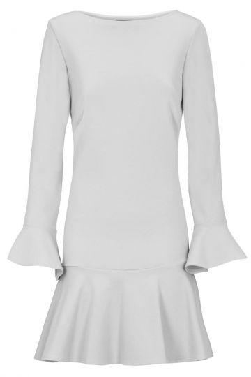 Weißes Volantkleid Dremonsy mit langen Ärmeln | Ana Alcazar