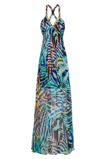 Langes Seidenkleid Aquarellis mit Jungle Print