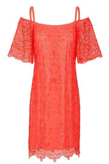 Rotes Spitzen Off-Shoulder Kleid Flaris   Ana Alcazar
