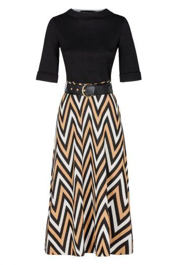 Schwarzes Midi-Kleid Diliary mit Zick-Zack Print | Ana Alcazar