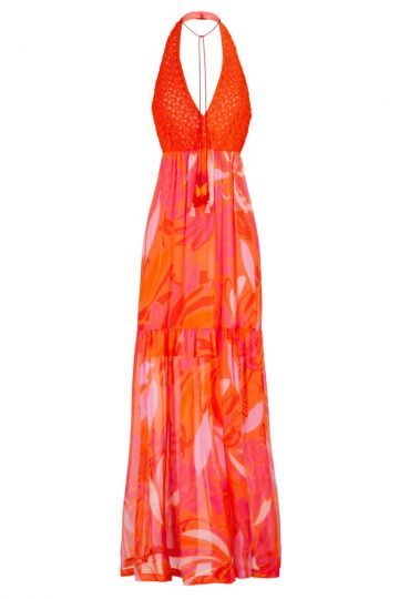 Orange-Rotes Seiden Maxikleid Gioles