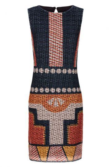 Buntes A-Linien Kleid mit Ethno-Print | Ana Alcazar