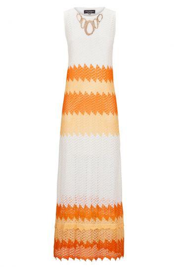 Langes Häkelkleid Altopheny in Weiß & Orange