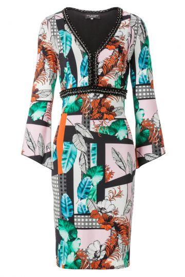 Tunika Kleid Amerolena mit Blätterprint