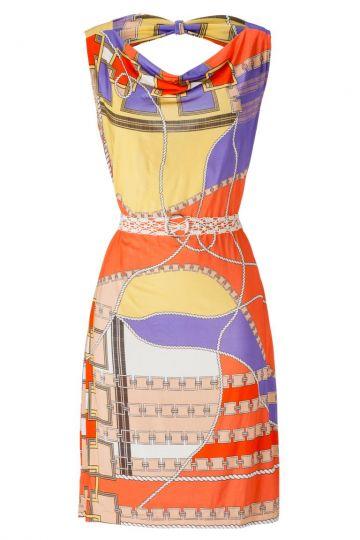 Rückenfreies Kleid Aranjina im Seventies Print