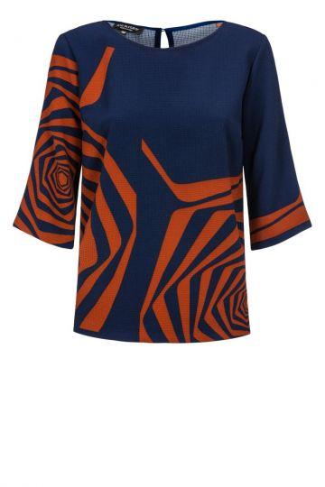 Lässiges Shirt Devonba in Blau&Braun | Ana Alcazar