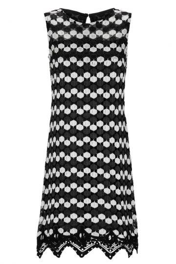 Schwarz-Weißes A-Linien Spitzenkleid Gisbella