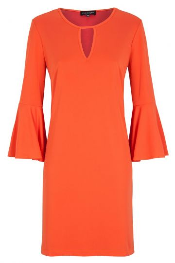 Oranges Casual A-Linien Kleid mit Volantärmel