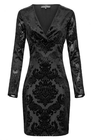 Schwarzes Samtkleid Elvey mit Ornament-Muster | Ana Alcazar