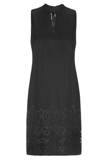 Schwarzes A-Linien Kleid Feyana mit Ornamenten | Ana Alcazar