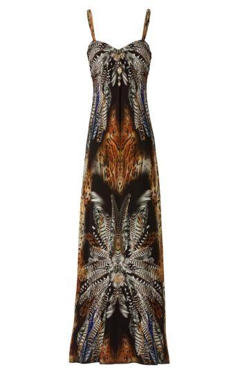Maxikleid Wildoris im Federnprint