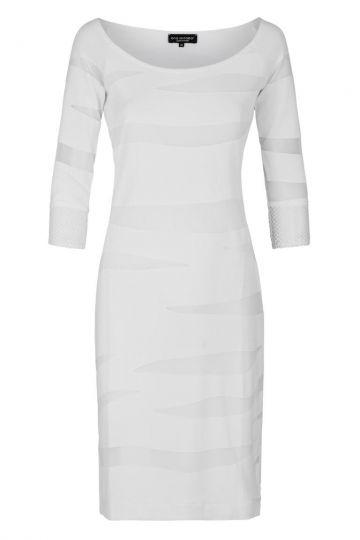 Weißes Tunikakleid Falery mit transparenten Ärmeln