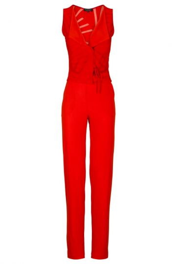 Roter Overall Aquey Fiesta mit Revers