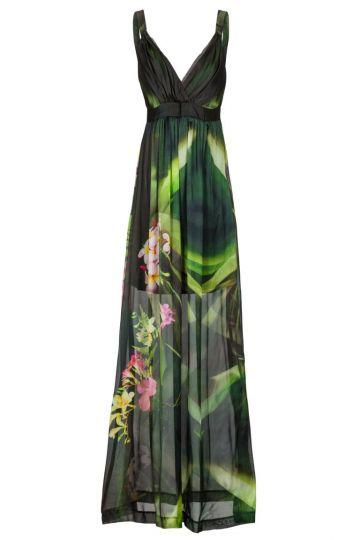 Langes Seidenkleid Anbellowy mit Blumenprint
