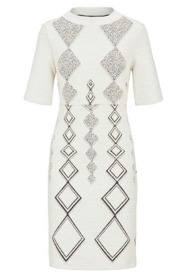 Weißes Empire Kleid Donbey mit Rautenprint | Ana Alcazar