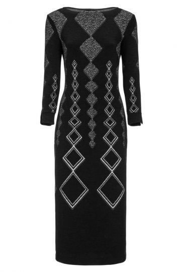 Schwarzes Midi-Kleid Donvis mit Rautenprint | Ana Alcazar