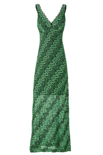 Langes Häkelkleid in Smaragd Grün