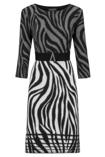 Schwarz-Weißes Etuikleid Dankeas mit Zebra-Print | Ana Alcazar