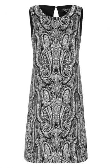 Limitiertes Schwarz-Weiß Ethno Kleid Geinas