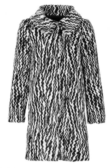 Kunstfell Mantel Albra in Schwarz & Weiß