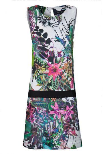 Seidenkleid Veroniquis mit Tropen-Print