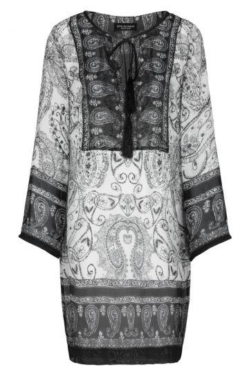Schwarz-Weiße Seiden Tunika mit Ornament | Ana Alcazar
