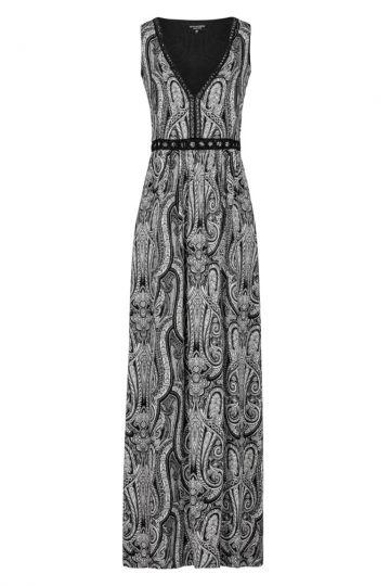Paisley Maxikleid in Schwarz-Weiß | Ana Alcazar