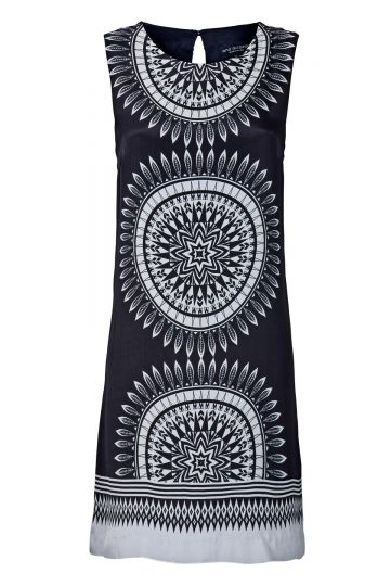Seidenkleid Viamont in Schwarz und Weiß