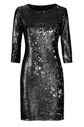 Black Label Paillettenkleid in Metallic Schwarz