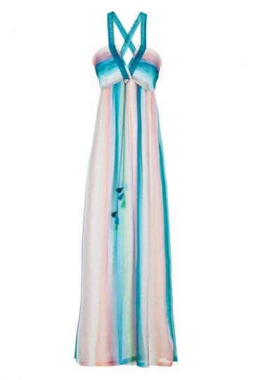 Maxi Seidenkleid Gisella Regenbogen-Farben