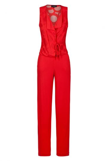 Roter Jumpsuit mit Kreis-Muster | Ana Alcazar