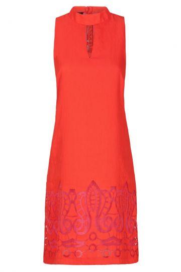 Rot-Pinkes A-Linien Kleid Feyana mit Ornamenten | Ana Alcazar