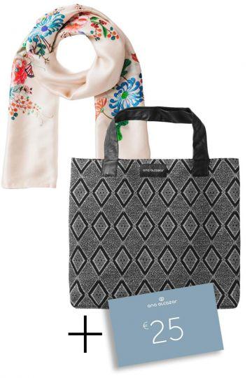 Geschenkset Sarrino mit Schal, Tasche + 25€ Gutschein